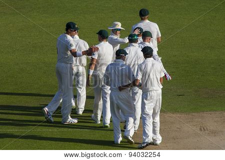 NOTTINGHAM, ENGLAND - July 11, 2013: Michael Clarke congratulates his team mates after day two of the first Investec Ashes Test match at Trent Bridge Cricket Ground on July 11, 2013