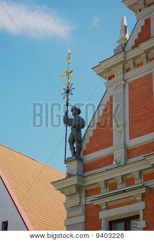 Ancient Warrior On The Roof Of Building