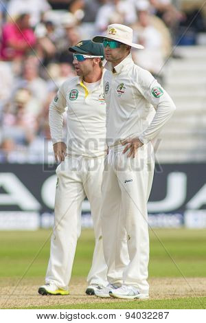 NOTTINGHAM, ENGLAND - July 12, 2013: Phillip Hughes and Michael Clarke react after Stuart Broad was given not out during day three of the first Investec Ashes Test match at Trent Bridge Cricket Ground