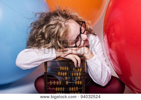 Portrait Of Teen Girl Dreaming In Glasses With Eyes Closed Again