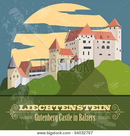 Liechtenstein landmarks. Retro styled image