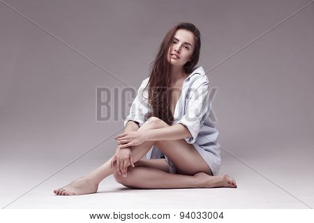 portrait of a beautiful sexy woman with long hair