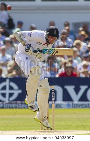 NOTTINGHAM, ENGLAND - July 13, 2013:  England's Stuart Broad ducks a bouncer during day four of the first Investec Ashes Test match at Trent Bridge Cricket Ground on July 13, 2013