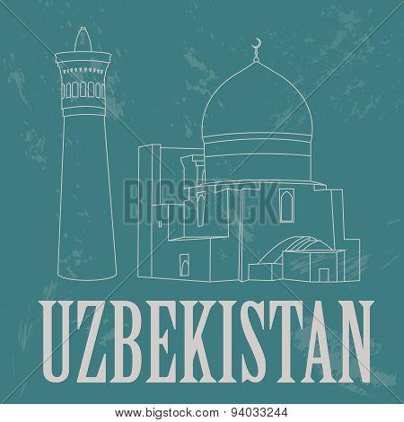 Uzbekistan landmarks. Retro styled image