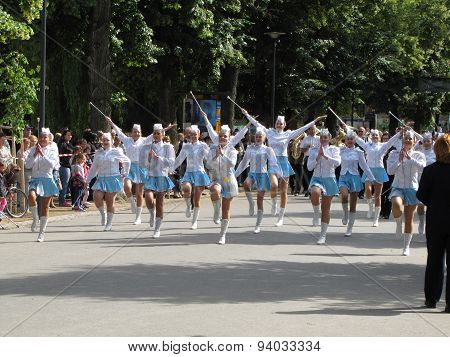 Majorettes In The Marching Parade Contest During National Championship Of Czech Republic