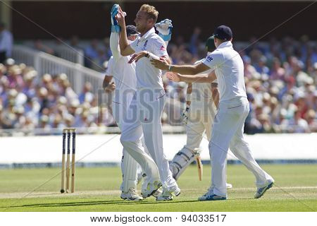 LONDON, ENGLAND - July 19 2013:  Stuart Broad celebrates taking the wicket of Michael Clarke during day two of the Investec Ashes 2nd test match, at Lords Cricket Ground on July 19, 2013
