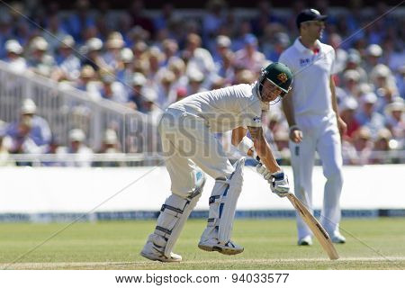 LONDON, ENGLAND - July 19 2013: Michael Clarke is hit on the pads and dismissed  lbw bowled Stuart Broad during day two of the Investec Ashes 2nd test match, at Lords Cricket Ground on July 19, 2013
