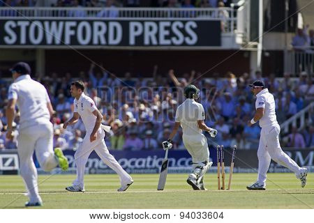 LONDON, ENGLAND - July 19 2013: England celebrate as James Anderson runs out Ashton Agar during day two of the Investec Ashes 2nd test match, at Lords Cricket Ground on July 19, 2013