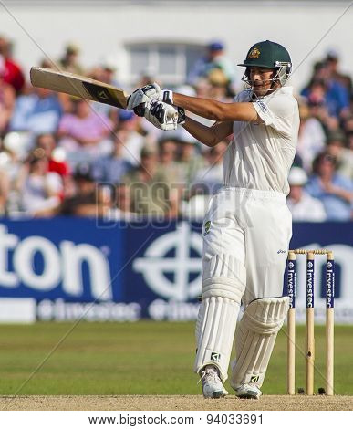 NOTTINGHAM, ENGLAND - July 13, 2013: Ashton Agar plays a shot during day four of the first Investec Ashes Test match at Trent Bridge Cricket Ground on July 13, 2013 in Nottingham, England.