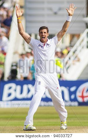 NOTTINGHAM, ENGLAND - July 13, 2013: Steven Finn makes an unsuccessful appeal for a wicket during day four of the first Investec Ashes Test match at Trent Bridge Cricket Ground