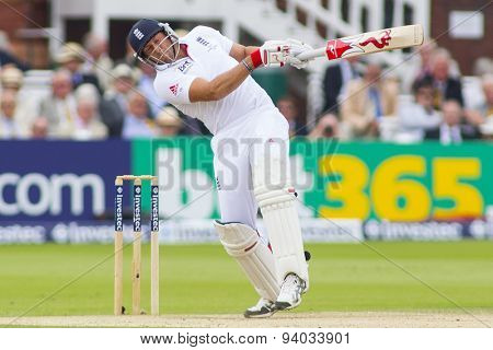 LONDON, ENGLAND - July 20 2013: Tim Bresnan plays a shot during day three of the Investec Ashes 2nd test match, at Lords Cricket Ground on July 20, 2013 in London, England.