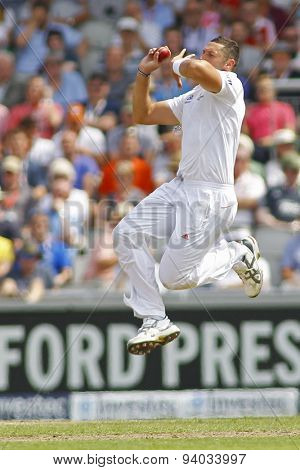 MANCHESTER, ENGLAND - August 01 2013: Tim Bresnan bowling during day one of  the Investec Ashes 3rd test match at Old Trafford Cricket Ground, on August 01, 2013 in London, England.