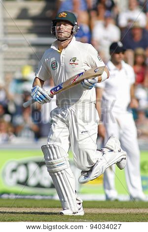 MANCHESTER, ENGLAND - August 01 2013: Michael Clarke runs a single to take him to a century during day one of  the Investec Ashes 3rd test match at Old Trafford Cricket Ground