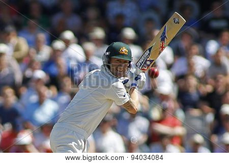 MANCHESTER, ENGLAND - August 02 2013: Michael Clarke batting during day two of  the Investec Ashes 3rd test match at Old Trafford Cricket Ground, on August 02, 2013 in London, England.