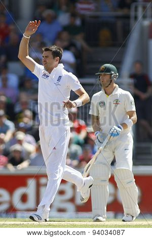 MANCHESTER, ENGLAND - August 02 2013: James Anderson and Michael Clarke during day two of  the Investec Ashes 3rd test match at Old Trafford Cricket Ground, on August 02, 2013 in London, England.