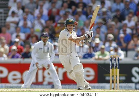 MANCHESTER, ENGLAND - August 02 2013: Steven Smith batting during day one of  the Investec Ashes 3rd test match at Old Trafford Cricket Ground, on August 02, 2013 in London, England.