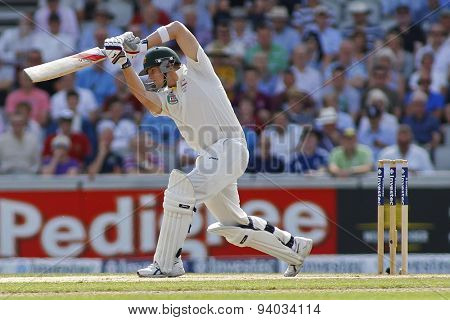 MANCHESTER, ENGLAND - August 02 2013: Steven Smith during day two of  the Investec Ashes 3rd test match at Old Trafford Cricket Ground, on August 02, 2013 in London, England.