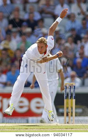 MANCHESTER, ENGLAND - August 02 2013: Stuart Broad bowling during day one of  the Investec Ashes 3rd test match at Old Trafford Cricket Ground, on August 02, 2013 in London, England.