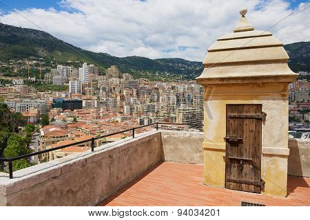 View to the Monaco city buildings with the old watchtower at the foreground.