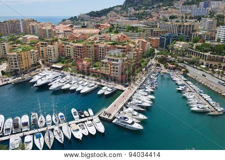 View to Fontvieille and Monaco Harbor in Monaco.