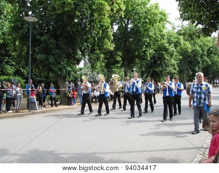Marching Orchestra In The Majorettes Marching Parade Competition