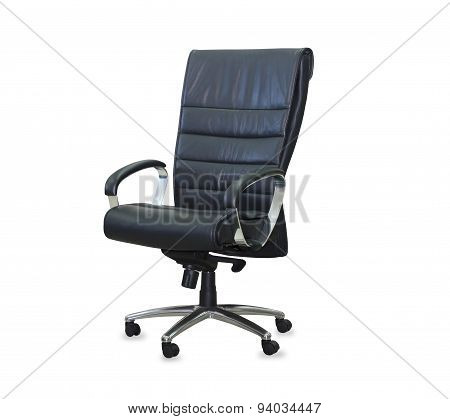 Modern office chair from black leather