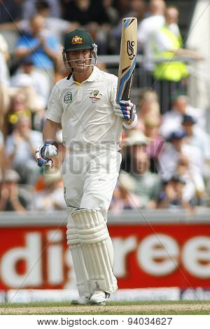 MANCHESTER, ENGLAND - August 02 2013: Brad Haddin raises his bat to acknowledge the crowd after scoring a half century during day two of  the  Ashes 3rd test match at Old Trafford Cricket Ground