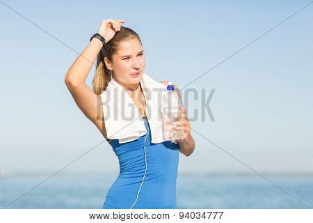Portrait of beautiful brunette doing break at the beach