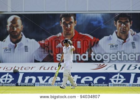 MANCHESTER, ENGLAND - August 03 2013: Kevin Pietersen walks out to bat during day three of  the Investec Ashes 3rd test match at Old Trafford Cricket Ground, on August 03, 2013 in London, England.