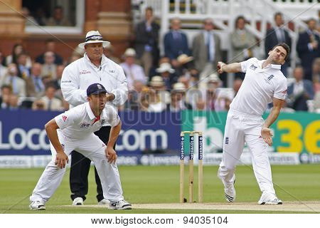 LONDON, ENGLAND - July 21 2013: Jonathan Trott, Marais Erasmus, and James Anderson during day four of the Investec Ashes 2nd test match, at Lords Cricket Ground on July 21, 2013 in London, England.