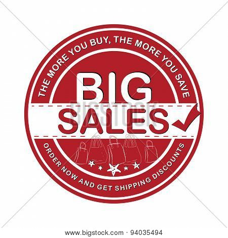 Red Big Sales advertising sticker for print.