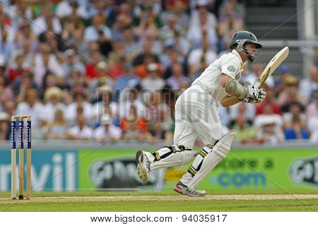 MANCHESTER, ENGLAND - August 01 2013: Chris Rogers during day one of  the Investec Ashes 3rd test match at Old Trafford Cricket Ground, on August 01, 2013 in London, England.
