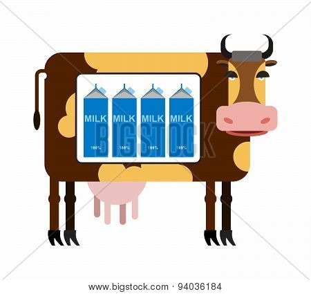 Spotted cow with milk. Packages of milk the cow as in the refrigerator. Milk production from cows. N