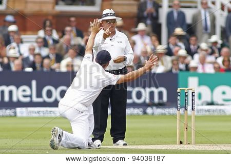 LONDON, ENGLAND - July 21 2013: umpire Marais Erasmus signals out for Shane Watson (not pictured) as Jonathan Trott appeals for the wicket during day four of the Investec Ashes 2nd test match