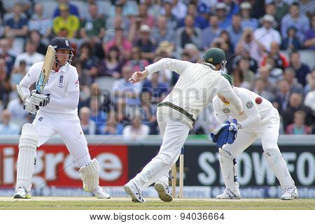 MANCHESTER, ENGLAND - August 04 2013: Stuart Broad, Steven Smith, and Brad Haddin during day four of  the Investec Ashes 4th test match at Old Trafford Cricket Ground, on August 04, 2013