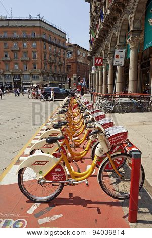 Bike Sharing Station At The Duomo Piazza In Milan
