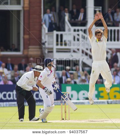 LONDON, ENGLAND - July 20 2013: Ashton Agar attempts to catch the ball off his own bowling during day three of the Investec Ashes 2nd test match, at Lords Cricket Ground on July 20, 2013