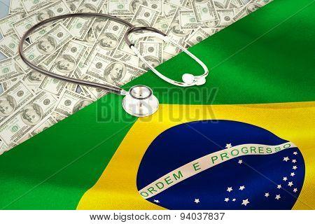 stethoscope against digitally generated brazil national flag