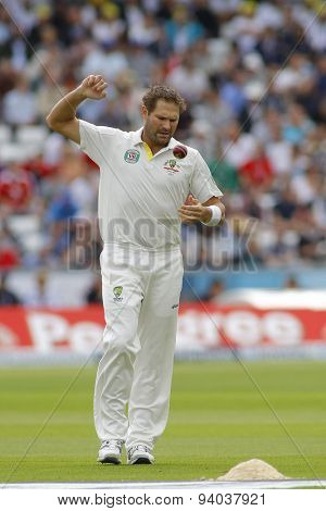 CHESTER LE STREET, ENGLAND - August 09 2013: Ryan Harris during day one of the Investec Ashes 4th test match at The Emirates Riverside Stadium, on August 09, 2013 in London, England.