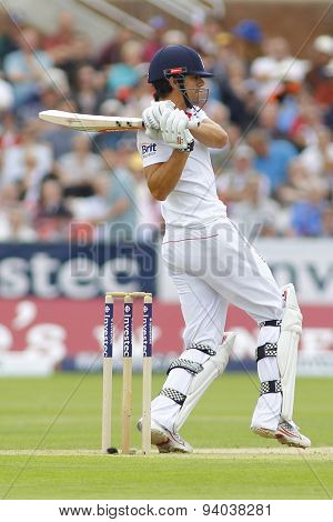 CHESTER LE STREET, ENGLAND - August 09 2013: Alastair Cook batting during day one of the Investec Ashes 4th test match at The Emirates Riverside Stadium, on August 09, 2013 in London, England.