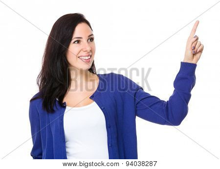 Woman touch the imaginary panel