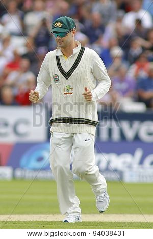 CHESTER LE STREET, ENGLAND - August 09 2013: Michael Clarke during day one of the Investec Ashes 4th test match at The Emirates Riverside Stadium, on August 09, 2013 in London, England.