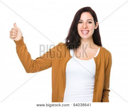 Woman with finger point up