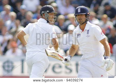 CHESTER LE STREET, ENGLAND - August 09 2013: Jonathan Trott and Alastair Cook run a single during day one of the Investec Ashes 4th test match at The Emirates Riverside Stadium