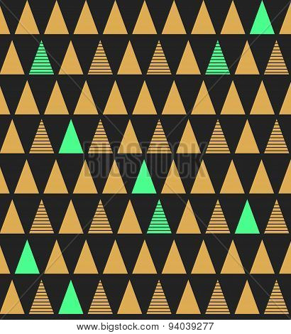 Abstract Seamless Pattern With Triangles In Bright Blue Gold And Dark Gray