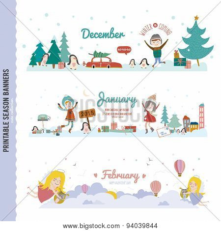 Cute Monthly Seasonally Vector Backgrounds Banners