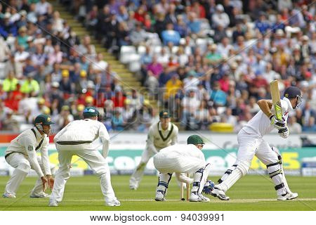CHESTER LE STREET, ENGLAND - August 09 2013: Usman Khawaja, Michael Clarke, Chris Rogers, Brad Haddin and Kevin Pietersen during day one of the Investec Ashes 4th test match