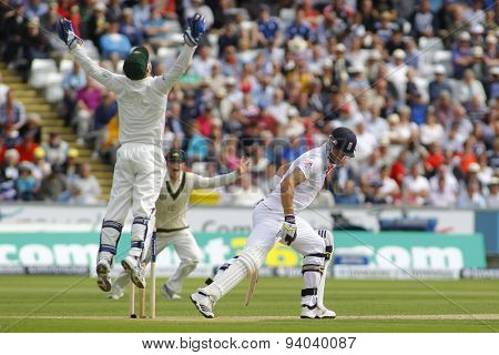 CHESTER LE STREET, ENGLAND - August 09 2013: Brad Haddin jumps into the air after catching the ball to dismiss Kevin Pietersen during day one of the Investec Ashes 4th test match