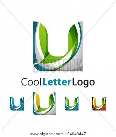 Abstract geometric company logo illustration of universal shape concept made of various wave overlapping elements