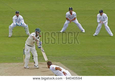 CHESTER LE STREET, ENGLAND - August 10 2013: Chris Rogers batting during day two of the Investec Ashes 4th test match at The Emirates Riverside Stadium, on August 10, 2013 in London, England.